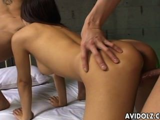Cock Juggling Japanese Tart Tries Both Of Her Lovers&#8217 Cocks Uncensore