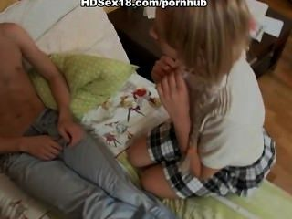 Blonde With Pigtails Fucking With Her Boyfriend