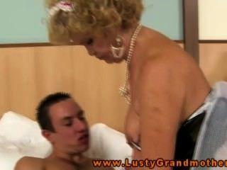 Hairy Granny In Lingerie Fucks And Sucks