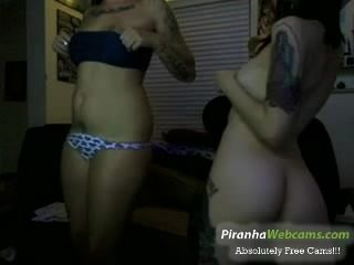 Very Horny And Hot 19yo Tattoed Teen And Friend Tease On Webcam