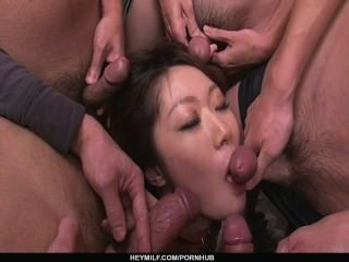 Multiple Blowjobs Has Rio Kagawa Enjoying A Bukkake