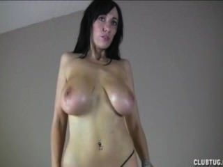 Big-titted Brunette Tit-fucks A Dick