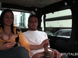 Big Titted Amateur Cutie Mouth Fucking Huge Cock In Bus