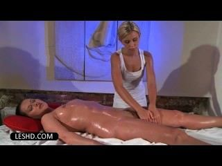 Naked Perky Lesbian Enjoying A Butt Massage With Oil