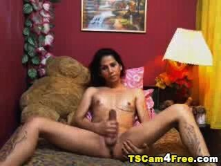 Hungry Tranny Sucks Her Own Tool