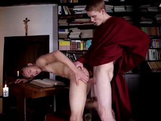 Brother Laarson Gets Two Cocks Up His Ass Before Getting His Face Splattere