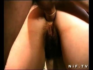 French Hairy Slut Gets Gangbanged