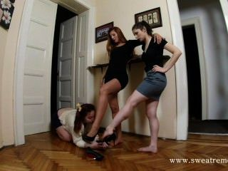 Two Mistress Uses Lesbian Feet Slave