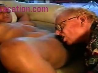 Black Lady With Large Tits Is Fucked By An Old White Man