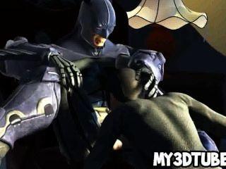 Hot 3d Catwoman Sucks On Batmans Rock Hard Cock