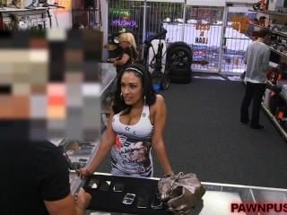 Big Tits Latina Tries To Pawn Phones, Sucks Cock Instead