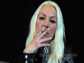 Smoking Girls In Leather Pants