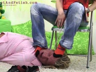 German Girl Force Guy To Lick Her Feet