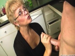 Short-haired Grandma Gets A Big Facial