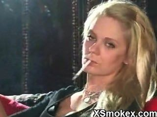 Sexy Blonde Smoking