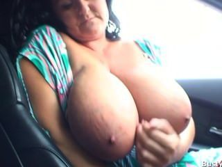 Busty Milf Reny Drives Car Topless