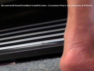 Candid Asian Feet Close Up In Flip Flops