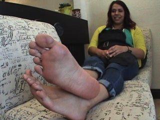 Huge bare feet footjob