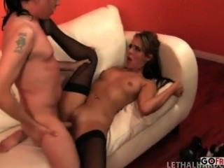 Ella Milano Handcuffs Scott Lyons And Sucks His Cock