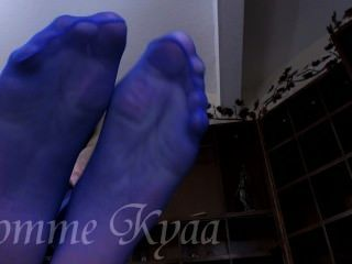 Worship Her Big Blue Pantyhose Feet