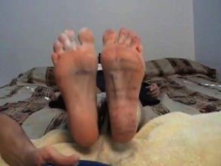 cum Captured video cleanup footjob