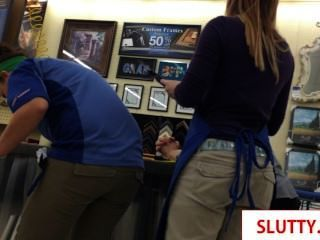 Sexy Teens Hard At Work Showing Their Butt