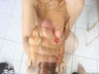 Blonde Babe Tugs On Cock