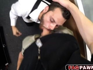 Sexy Gay Blows A Cock In Public Pawn Shop