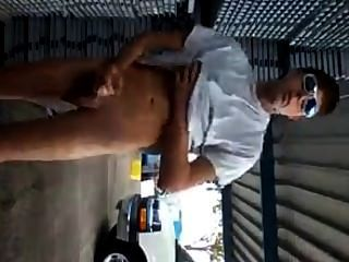 Hot Guy Jerks And Cums Outdoor In Public