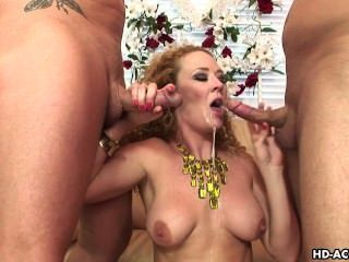 Busty Chick Fucks With Two Dudes