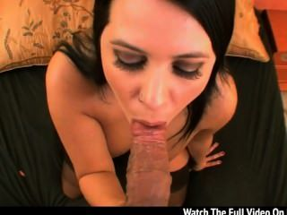Lacie James Reveals Her Big Real Breasts And Gives An Wondrous Blow The Whi