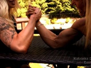 Strong muscle girls wrestling domination agree