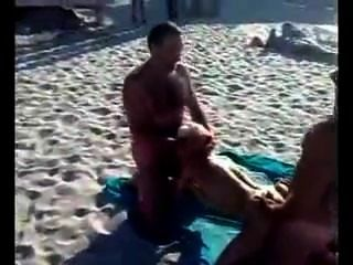 Russian Real Public Threesome Fuck On The Beatch