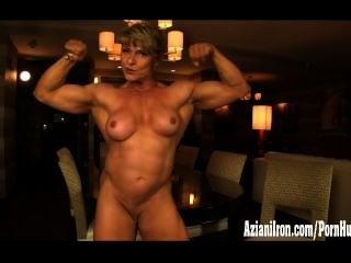 Bodybuilder In Bodystocking Flexes And Plays With Her Big Clit