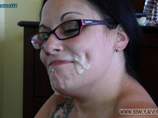White Bbw Shows Off Cum On Her Face From Many Cocks Facial Compilation