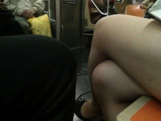 Candid Feet And Legs Asian On Train