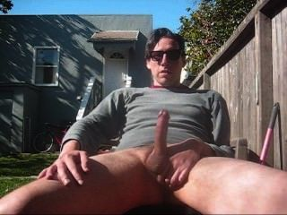 Straight Guy Jerks His Cock Outside