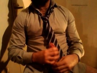 Hairy Business Man Cums In Beard & On Shirt
