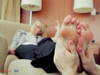 Hot Feet Being Massaged