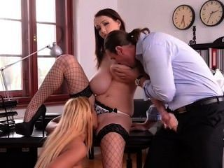 Russian Big Tit Girls Threesome In Office