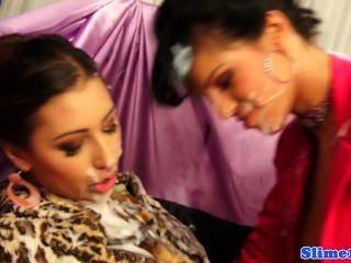 Bigtit Bukkake Loving Femdom Sprays Euro Lesbian