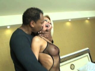 Slutty Euro Wife Gags On Thick Big Black Cock While Cuckold Hubby Watches!