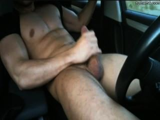 Athletic Stud Jerking Off In A Car