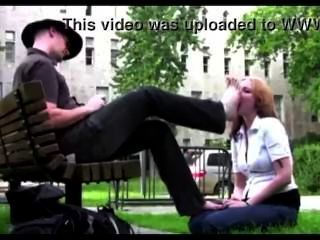In Public Park Slave Girl Worship Her Master Feet