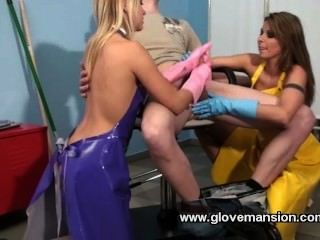 Smoking yellow rubber gloves 2 at once hd pov mp4 1