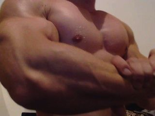 Bodybuilder Close Up Flexing