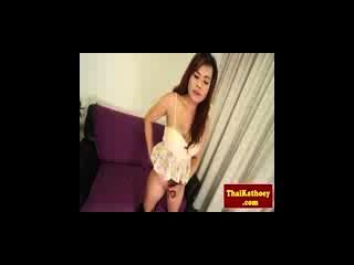 Busty Thailand Ladyboy In Lingerie Plays With Dick