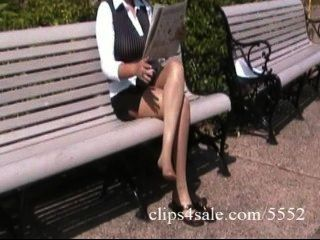 Sexy Buxom Latina Secretary Shows Off Her Legs In Pantyhose In A Park