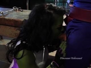 Green Slut-whore Chokes On Mans Penis