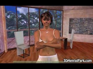 3d Brunette German Babe Gets Naked